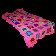 Bright Cheerful Colorful Crochet Granny Square Quilt