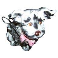 Old Ceramic Puppy Dog Thread String Scissor Holder