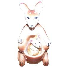 Ceramic Mommy Kangaroo and Baby Joey Salt Pepper Shakers