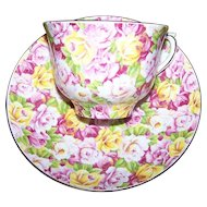 Floral Chintz Cheerful Tea Cup Saucer Set Colclough England