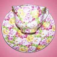 Floral Chintz Cheerful Tea Cup Saucer Set Colclough England