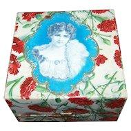 Vintage Paper Portrait Decoupage Vanity Dresser Box