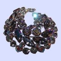 Designer Quality  Dimensional Gray Rhinestone  Swirl  Brooch Pin
