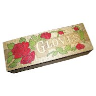 Vintage Pyrography Glove Box  Painted Rose Floral Motif