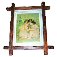 Vintage Carved Wood Criss Cross Frame Children Bird Print