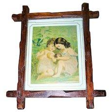 Vintage Carved Wood Criss Cross Frame Children Bird Print