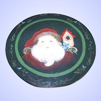 Charming Vintage Hand Painted  Santa Claus Old St. Nick Wall Plaque