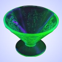 Four Madrid Uranium Depression Green Glass Cone Sherbets