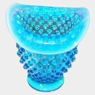 "3.5"" Mini Glass Bud Vase Fenton Blue Hobnail Opalescent Rim"