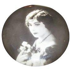 Lovely Vintage Portrait Photo Photograph Celluloid  Button Lovely Lady Portrait
