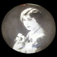 Lovely Vintage Portrait Photo Photograph Celluloid  Button Lovely Lady Portrait