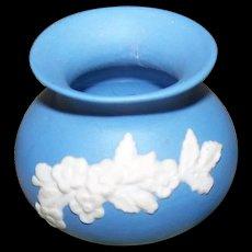 A Wonderful Vintage Miniature Blue Jasper Ware Bulbous Vase ECanada Style