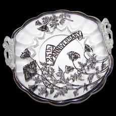 Elegant Vintage 25 th Anniversary Handled Dish Silver Sterling Silver Overlay