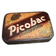 Canadiana Advertising Picobac Tobacco Tin Box With Striker