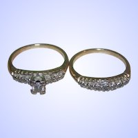Ladies Yellow Gold Diamond Traditional Style Wedding Ring Set