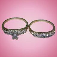 Ladies Yellow Gold Diamond Traditional Style Wedding Ring Set