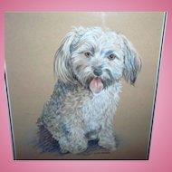Framed Puppy Dog Portrait Artist Signed Gainsborough Galleries