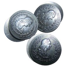 Six ( 6 )  Collectible Vintage Silver Tone Metal   Portrait  Buttons Featuring M. Theresia DGR