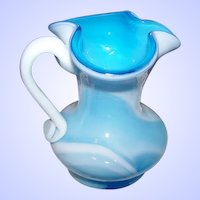 Charming Vintage Blue & White Slag Glass Pitcher