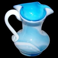 Charming Vintage Blue & White Slag Glass Pitcher
