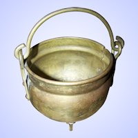 Small Primitive  Brass Footed Cauldron Smudge Pot  with Original Handle