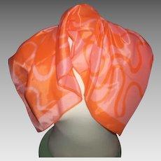 Pretty Orange  Signed Vera Neumann Scarf