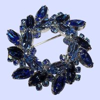 Stunning Vintage Designer Quality Blue Rhinestone Wreath Brooch
