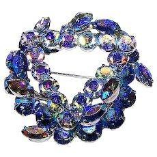 A Wonderful Designer Signed KEYES Blue Rhinestone Brooch / Pin
