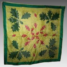 A Delicate Vintage Silk Scarf By Designer Vera Leaf  Leaves Pattern
