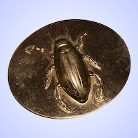 An ODD Egyptian Revival Style  Metal Ware Beetle Scarab Novelty Pin Brooch