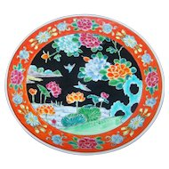 Signed Japanese Porcelain Enamel Famille Rose Style Plate  MIJ