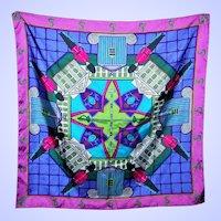 Large Novelty Souvenir Symbolic Esprit Designer Scarf Guard Castle Sword  Motif