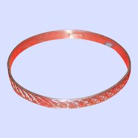 Pretty Decoratively Embossed Sterling Silver Vintage Bangle Bracelet