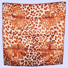 WOW A Spotted Wild Cat Vintage Ladies Small Scarf Glentex