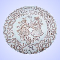 Brown Transfer Christmas 1974 Collector Plate  Norma Sherman