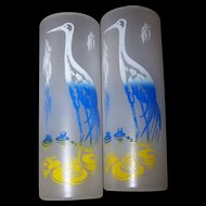 2 Mid Century  Mad Men Era Barware Zombie High Ball Frosted Tumblers Glasses Birds