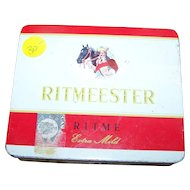 Collectible Ritmeester Cigar Tobacco Advertising Tin Box Horse