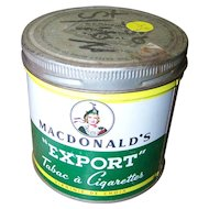 Collectible Vintage Lassie Tobacco Tin Can MacDonald's EXPORT Cigarettes
