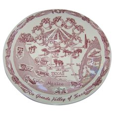 A Souvenir Plate Rio Grande Valley of Texas Vernon Kilns USA