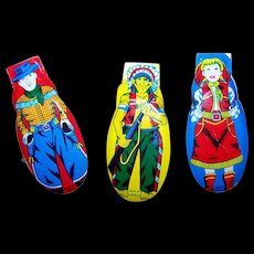 3 Vintage Mechanical Tin Litho Toy Clickers Snappers Western Theme