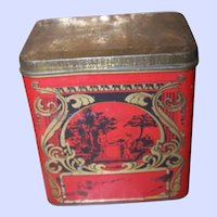 Charming Vintage Decorative Nouveau & Scenic  Early Tea Tin