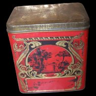 Charming Vintage Decorative Nouveau & Scenic  Early Tea Tin