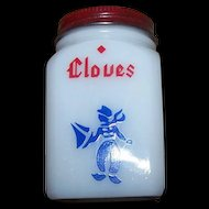 C. 1940's Milk Glass Cloves Dutch Boy Shaker Red Metal Top Original