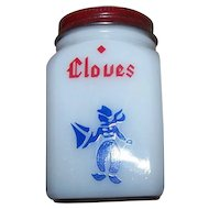 C. 1940's Milk Glass Cloves Dutch Boy Shaker Red Metal Top Original