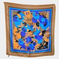 Such A Pretty Vintage Floral Motif Ladies  100 % Silk  Fashion Scarf