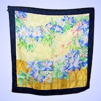 Pretty As A Picture Designer Signed erre Mixed Floral Motif Silk Scarf Wearable ART