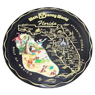 A Vintage Collectible Souvenir Metal  Metalware Tray Walt Disney World Florida