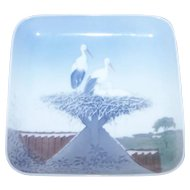 Bing and Grondahl Birds in Nest with Babies Pin Tray Porcelain Dish 1300 6583
