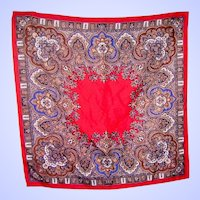 A Lovely Vintage Hand Printed  Craft Royal Ladies Fashion  Scarf