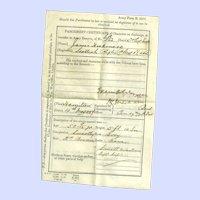 Vintage Parchment Paper Recruiting Agents Certificate Scottish Rifles